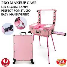 professional led lights rolling wheels make up studio stand artist case trolley