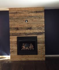 reclaimed wood fireplace during