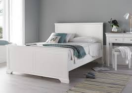 caux white wooden bed frame only double