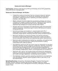 8 Restaurant Manager Job Description Samples Sample Templates