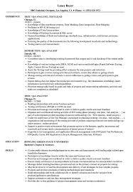 Test Qa Analyst Resume Sample Stockphotos Quality Analyst Resume