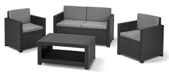 allibert by keter monaco outdoor 4 seater rattan lounge garden furniture set graphite with grey cushions amazon co uk garden outdoors