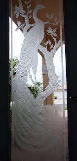 frosted etched glass peacock door