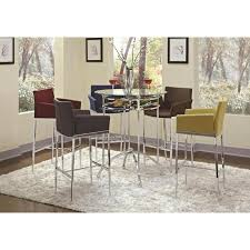 29 upholstered stools available in brown grey or red arched stretcher and a built in wine rack 35 round tempered glass table top
