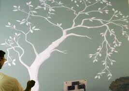 how to draw a tree painting on the wall paint with dilip art