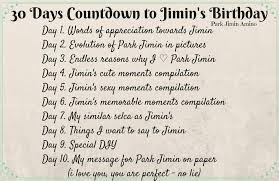 30 days countdown to jimin s birthday video