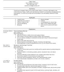 Nanny Resume Example Nanny Resume Sample Templates Template Example Stunning Infant Nanny Resume