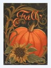 ACEO Original Acrylic Painting folkart pumpkin sunflower autumn fall  calligraphy in Art, Direct from the Artist, Paintings