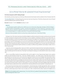 PDF) Is it a Prime Time for AI-powered Virtual Drug Screening? EC  Pharmacology and Toxicology Special Issue-2017