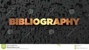 Bibliography Gold Text On Black Background 3d Rendered Royalty