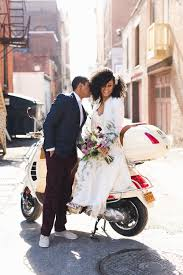 as a special bridal accessory i hand embroidered a white leather jacket with just married for the couple s grand exit the vespa fit perfectly into this