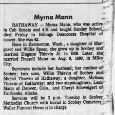 Obituary for Myrna Mann (Aged 42) - Newspapers.com