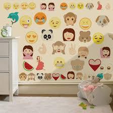 Kids Bedroom Wall Childrens Emoji Emoticons Wall Stickers Decals Nursery Boys Girls