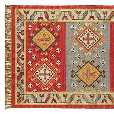 red dhurrie rug red and black