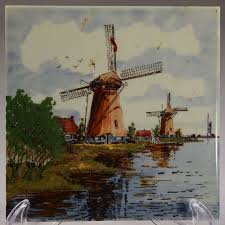 vintage delft blue windmill tile dutch handcraft hand painted made in holland may be used as a wall hanging or on a display stand