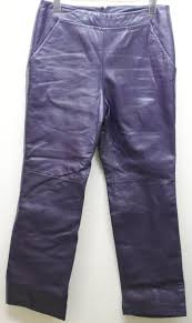 danier women 100 leather pants 28 28 28 inc high waist lined flat front purple 544dad