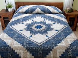 Lone Star Log Cabin Quilt -- outstanding ably made Amish Quilts ... & Slate Blue and Tan Log Cabin Lone Star Quilt Photo 1 ... Adamdwight.com