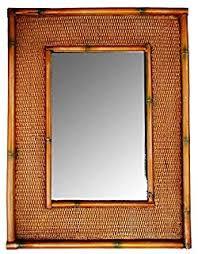 gold bamboo mirror. Tropical Decor Rattan Bamboo Wall Mirror Gold