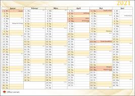 Overzichtelijke jaarkalender van 2021, de data worden per maand getoond inclusief weeknummers. Kostenlose Kalendervorlagen 2021 Fur Word Und Excel Office Lernen Com