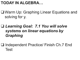 warm up graphing linear equations and solving for y