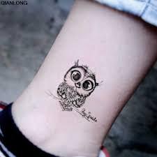 винтажная черная сова временная татуировка на руку сексуальная