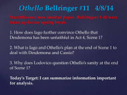 essay questions othello bellringer 1 2 25 14