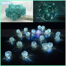 2M Length, Turquoise Blue Rattan Ball Battery Powered Fairy Light ...