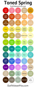 Die Spring Color Chart Toned Spring Shades Colour Chart In 2019 Soft Autumn