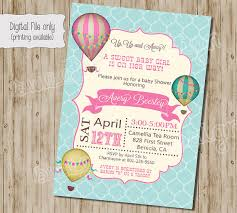 Baby Shower Invitation Hot Air Balloon Baby Shower InvitationVintage Hot Air Balloon Baby Shower