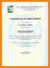 Format For Certificate Of Employment Free Fax Cover Lette Certificate Of Employment In Hotel Sample Copy