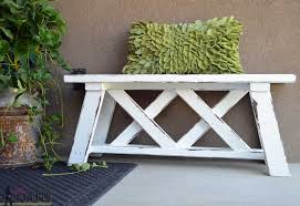 has a diy outdoor bench tutorial that is really simple seriously an easy furniture project if you like pallet furniture you can also make her diy pallet