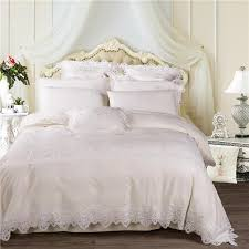 white cream luxury egyptian cotton lace wedding royal princess bedding set queen king size bed sheet set duvet cover pillowcases designer comforter sets