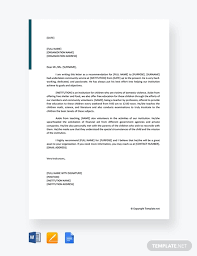 Free Community Service Letter Of Recommendation Template