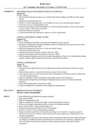 Nurse Technician Resumes Clinical Technician Resume Samples Velvet Jobs