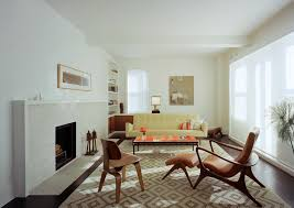 mid century modern rustic living room living room contemporary with white fireplace mantel diamond pattern rug modern furniture