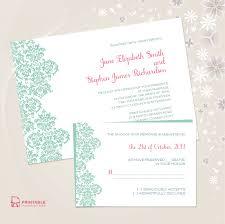 Damask Border Invitation And Rsvp Set Wedding Invitation