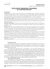 Pdf Developing Tomorrows Drumming By Studying The Past