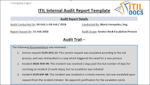 Itil Internal Audit Report Template Itil Docs