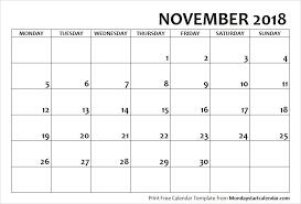 2018 November Calendar Monday Start Monday Start January