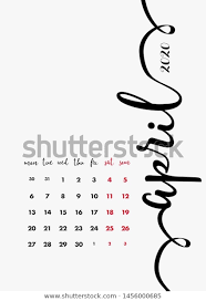 April 2020 Template April 2020 Calendar 2020 Design Template Stock Vector