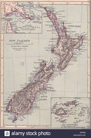 New Zealand Vintage Chart Map Of New Zealand New Zealand 1890 Old Antique Vintage