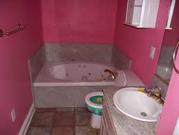 Bathroom:Fashionable Pink Bathroom Idea With Drawer Under Sink Idea Modern  Small Pink Bathroom With