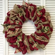 Red and Green Christmas Wreath Burlap Wreath Christmas