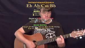 Play That Song Train Guitar Lesson Chord Chart Eb Ab Cm Bb