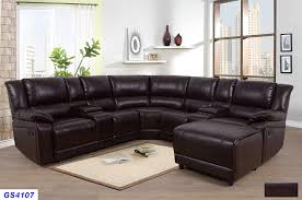 lifestyle furniture 5 pieces recliner sectional sofa set with push back chaise 2 cup holder consoles with lift up storage brown bonded leather lsfgs4107
