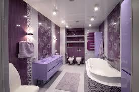 bathroom: Luxurious Bath Tub Front Cute Washbasin Near Twin Lighting In Purple  Bathroom Sets Wiith