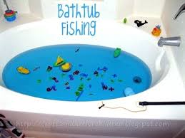 making your own bathtub bath tub fishing game with magnets kids