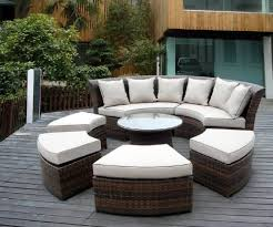 Outdoor Patio Wicker Furniture 7pc Round Couch Set