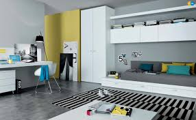 modern teenage bedroom furniture. MisuraEmme Teenager Room With Gray Wall Paint Color And White Furniture Set  Yellow Accents Modern Teenage Bedroom Furniture R