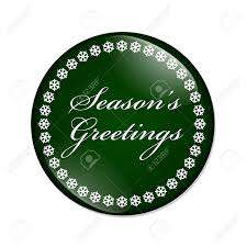 Seasons Greetings Button A Green Button With Snowflakes With
